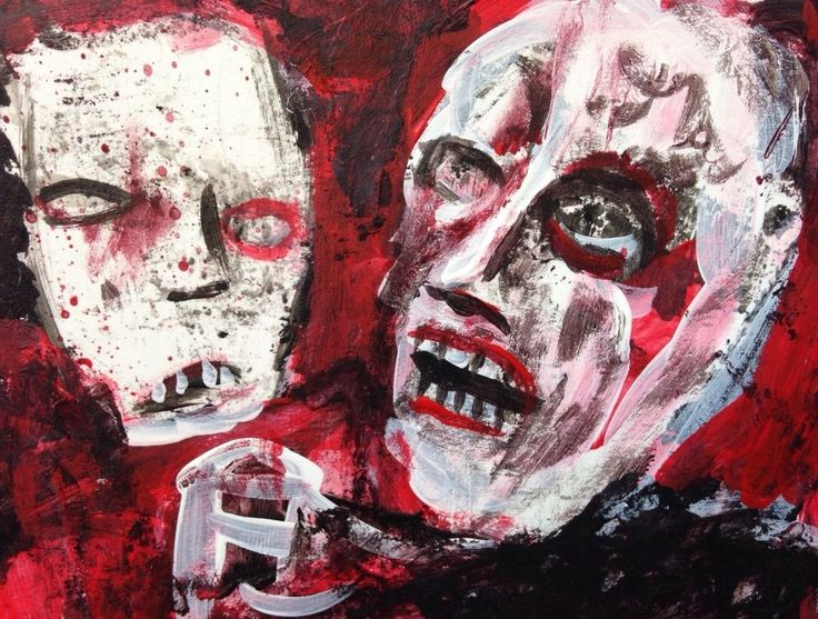 """EBOLA ZOMBIES #11 of 66"" Acrylic original  ,ACEO  jack larson 3.5""x2.5""  #Abstract"
