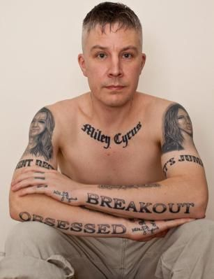 """He once was proud of his Miley tattoos, but after she said they were """"ugly"""" he is regretting them and going to have them removed via #LaserTattooRemoval"""