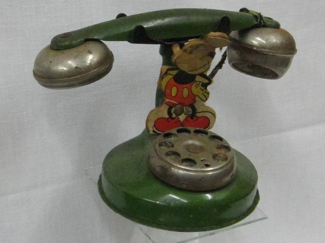 1920's EARLY MICKEY MOUSE DISNEY BELL TOY TIN LITHO TELEPHONE PHONE BANK RARE NR how darling!