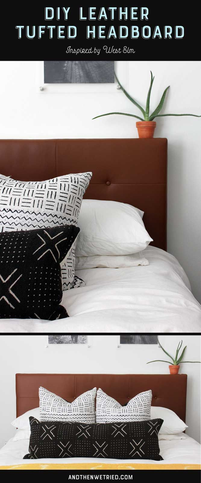 See the full DIY to create your own West Elm inspired Leather Tufted Headboard over on andthenwetried.com