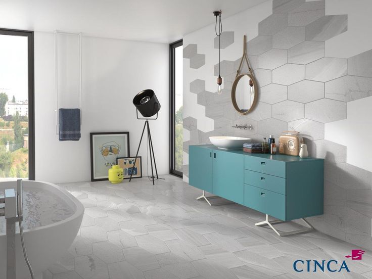 "New Cinca hexagon tiles. 9.5""x19.25"" porcelain tiles. 6 colors available.     For more information visit www.x-tile.net"
