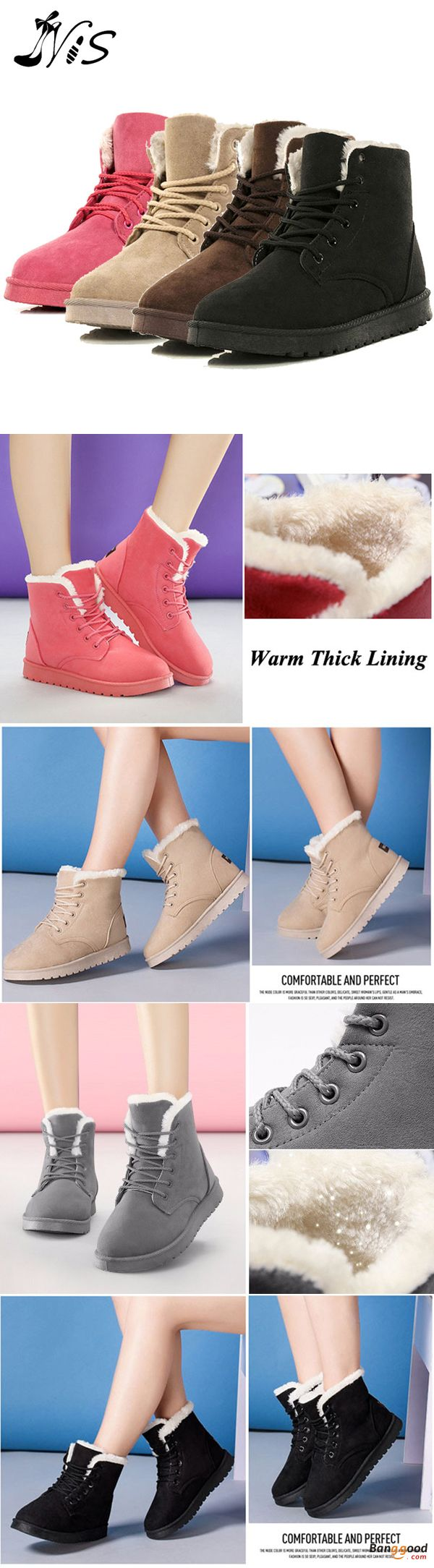 US$28.58 + Free shipping. Size: 5-9. Color: Black, Pink, Blue, Beige, Brown. Fall in love with casual and warm style! WADNASO New Women Winter Keep Warm Suede Cotton Comfortable Ankle & Short Snow Boots.
