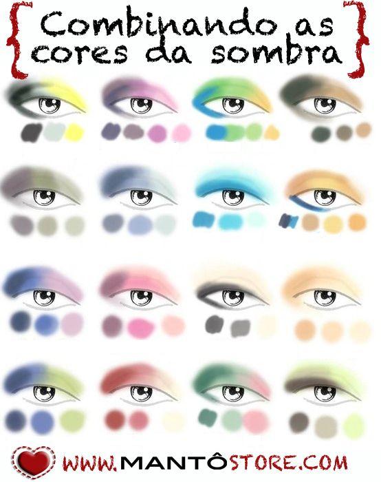 Ontem foi o delineador e hoje é o dia da sombra! Que tal algumas dicas com algumas combinações de cores? Olha lá no blog que tem mais dicas: http://mantostore.blogspot.com.br/2013/06/combinando-as-cores-da-sombra.html