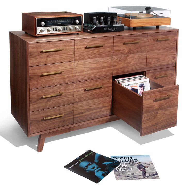 Experience the vinyl record cabinet that looks as good as your music sounds - and browse album covers, not spines. US-made, heirloom quality furniture.