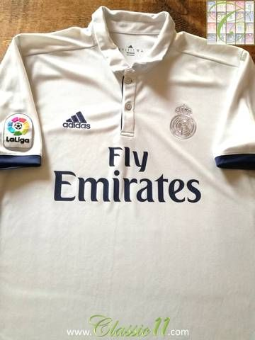 Official Adidas Real Madrid home football shirt from the 2016/2017 season. Complete with La Liga patch on the sleeve.