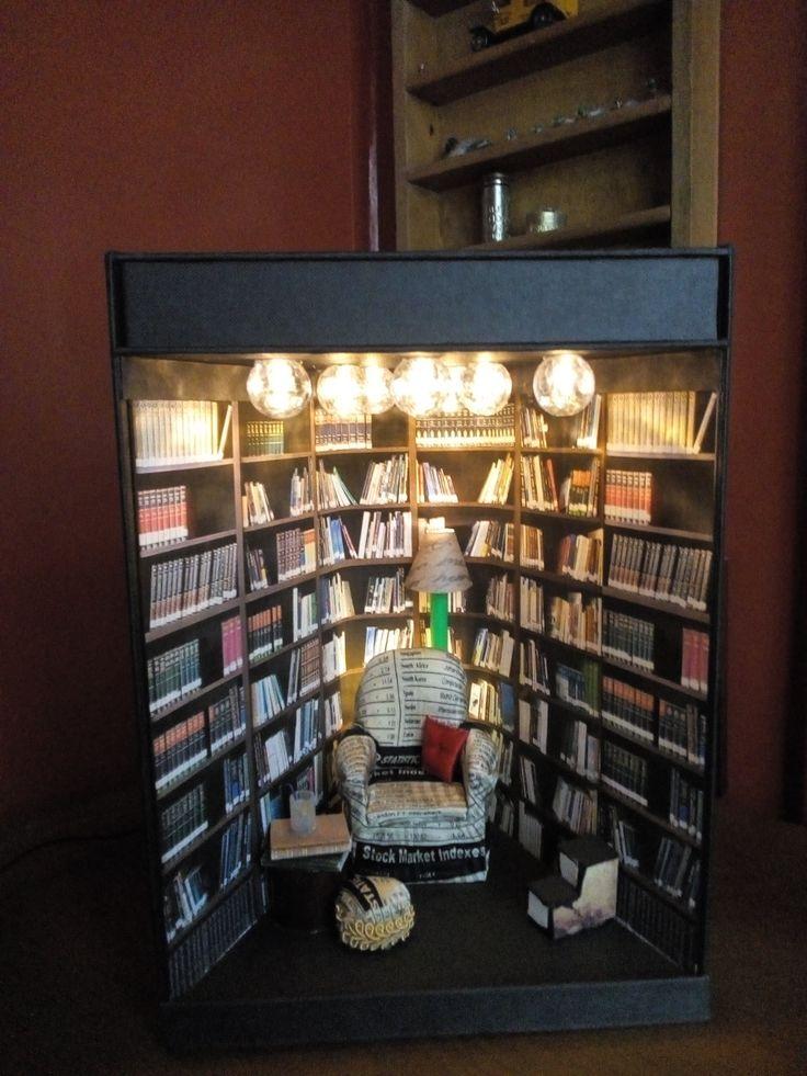 SOLD. Bookshelf art. Book Nook Diorama, Book Shelf insert