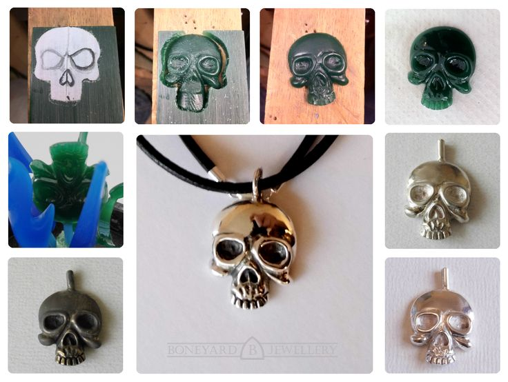 Hand carved skull and cast in sterling silver using lost wax casting method.