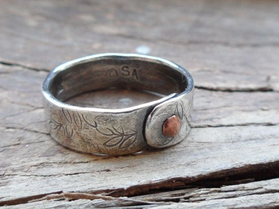 RIVETING...Sterling Silver handmade band ring w Copper rivet
