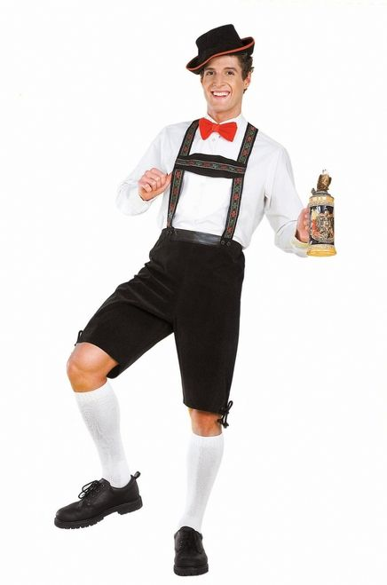 Plus Size Hansel Men's Lederhosen Halloween Costume - Drink your beer in this awesome XL Leiderhosen costume! This 2 piece German party wear is perfect for your Hansel and Gretel couples Halloween costumes.  The costume includes a one piece dark green velveteen lederhosen, with lacing at the side of the knees, and red white and green German style embroidered ribbon trim on the suspenders. #bavaria #yyc #calgary #costume #mens