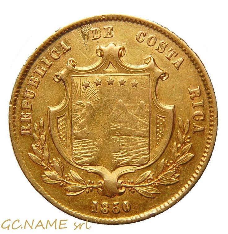COSTA RICA Republic. Gold 4-Escudos (½-Onza), 1850 JB #458