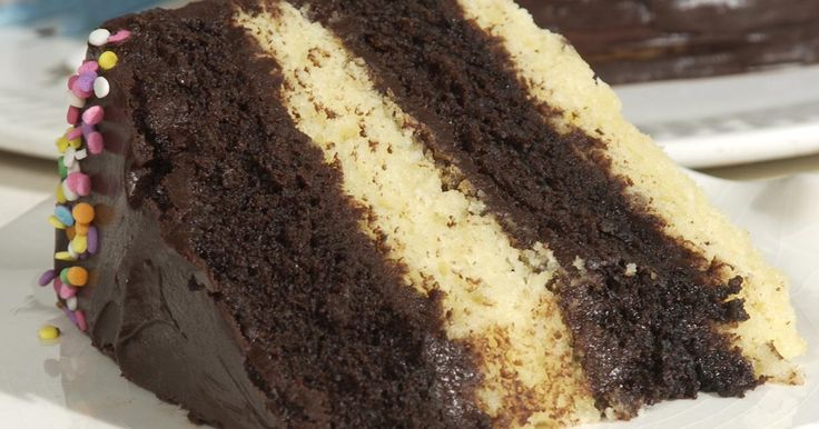 Chocolate and vanilla inter-layered cake with a decadent fudge frosting.