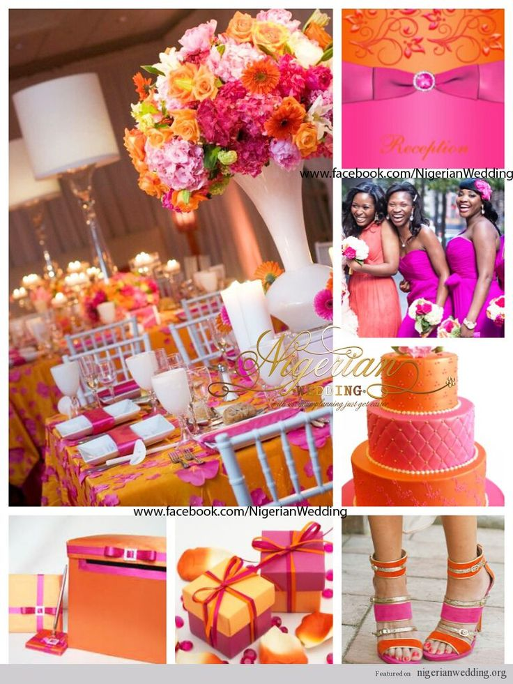 A bit too bold, needs more white than colors, and add green, but otherwise, This. --- wedding fuchsia pink and orange wedding color scheme