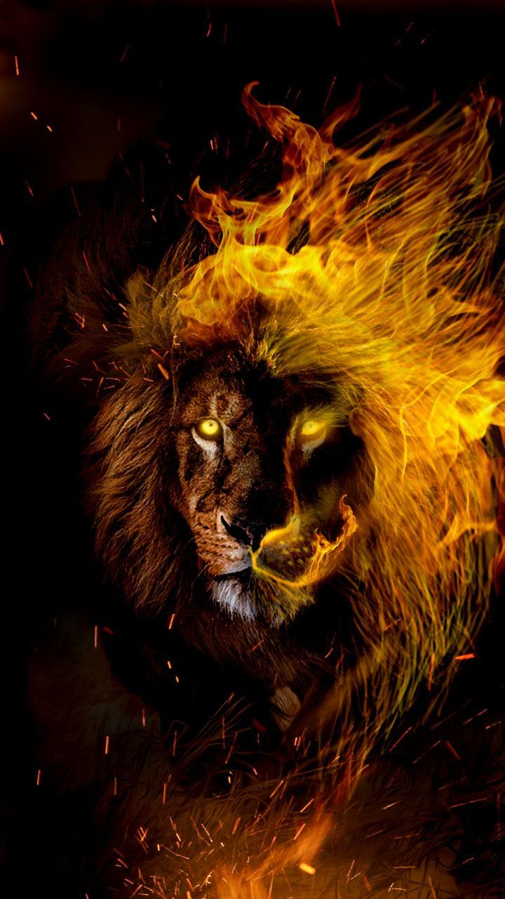 Leo In Flames Lion Wallpaper For The Leo Zodiac Lovers Get Your Star Sign Wall Lion Painting Lion Art Lion Wallpaper