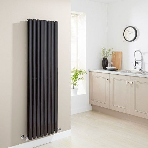 Milano Aruba Black Vertical Designer Radiator (Double Panel) - http://www.bestheating.com/milano-aruba-black-vertical-designer-radiator-1600mm-x-472mm-double-panel.html