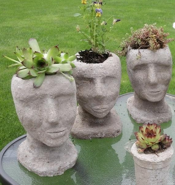 Pot Head Planters: Hypertufa Head Planter Outdoor Garden Decor By TotallyTufa