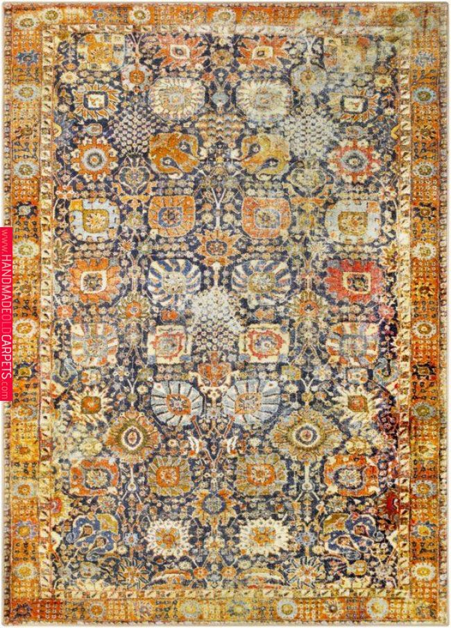 Wyclif Traditional Floral Bright Yellow Brown Area Rug