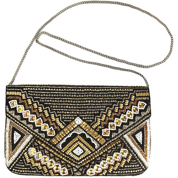 Avenue Art Deco Envelope Clutch found on Polyvore featuring bags, handbags, clutches, purses, bolsas, bolsos, black white, plus size, evening handbags and black and white purse