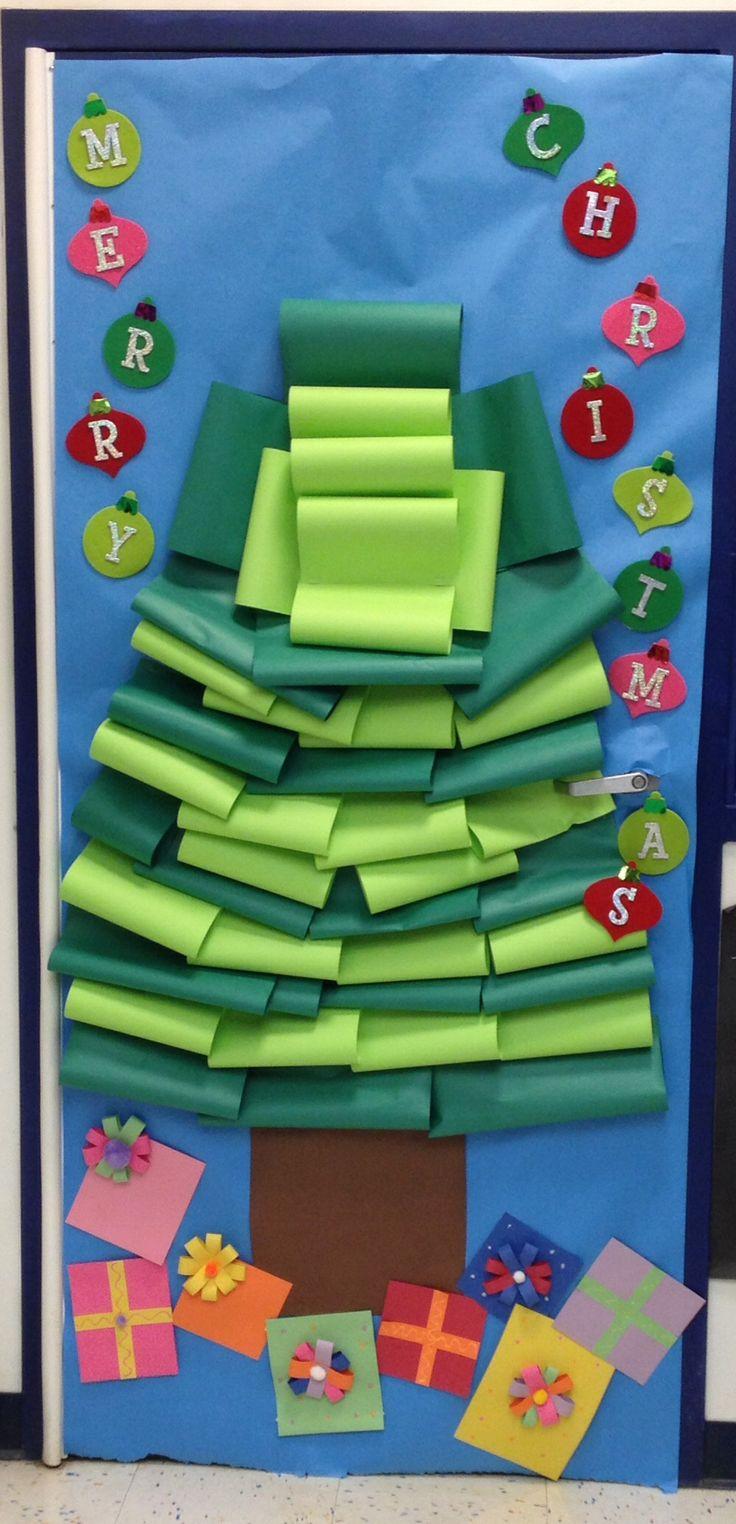 Christmas tree classroom door decorations - Christmas Tree Door Decoration