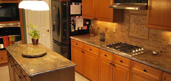 Crema Bordeaux Granite Countertop And Mocha Travertine
