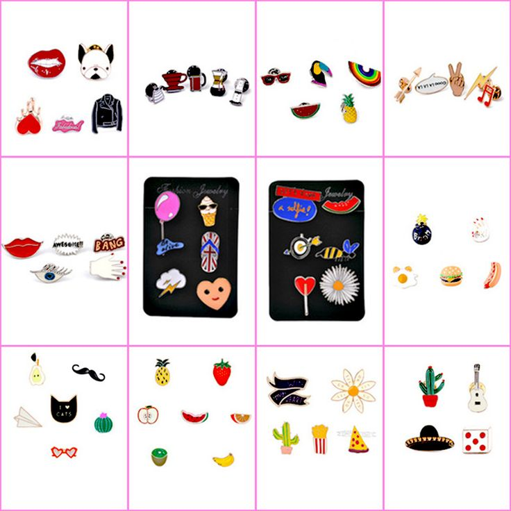 4 7 PCS/Set Cartoon Brooch Pin Enamel Cute Animal Fruit Pear Ice Cream Lapel Pin Collar Women Girl Pins Badges for clothes-in Brooches from Jewelry & Accessories on Aliexpress.com | Alibaba Group