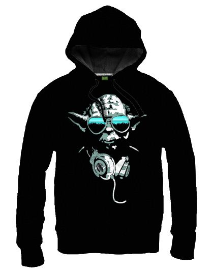 Sweat-Shirt Star Wars Noir à Capuche DJ Yoda Cool - Sweat-Shirts Geek/Sweat-Shirts Films - Logostore