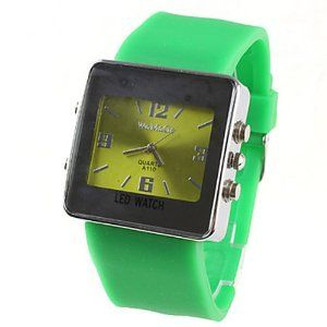 Tanboo Fashion Girl Women Wrist Watch Green Watchband Green Dial A110 by Tanboo. $9.99. Women's Watche. Wrist Watches. Fashionable Watches. Gender:Women'sMovement:QuartzDisplay:AnalogStyle:Wrist WatchesType:Fashionable WatchesBand Material:RubberBand Color:GreenCase Diameter Approx (cm):4.1Case Thickness Approx (cm):1.2Band Length Approx (cm):19.200000000000003Band Width Approx (cm):2.8