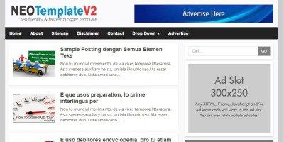 NEO Template V2, Template Blog Simple SEO