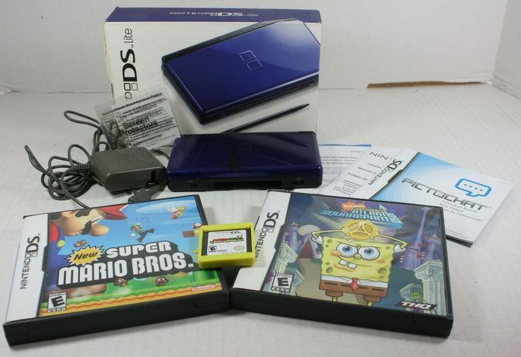 Nintendo DS Lite Handheld Game System LOT Super Mario Luigi Bowser Spongebob