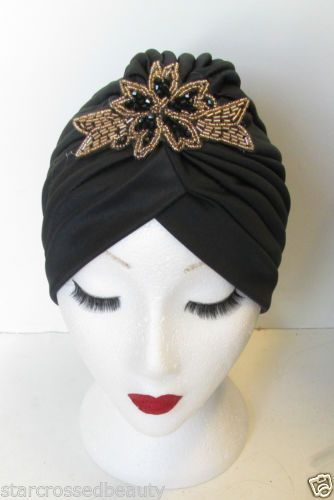 Black-gold-de-perles-Turban-chapeau-vintage-annees-1920-1930-headpiece-TAMBOUR-CLOCHE-N19