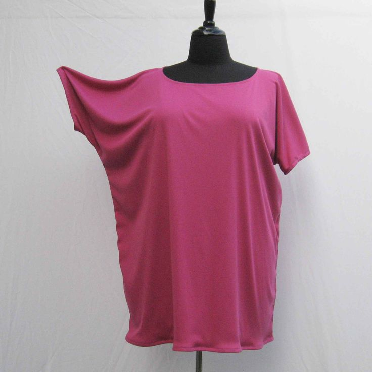 Pink Tunic, oversized t shirt, plus size t shirt, hot pink top, batwing tee shirt, batwing top 1x 2x 3x 4x 5x 6x, upcycled top, eco friendly by Rethreading on Etsy