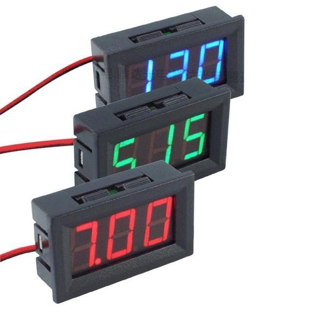 Portable Mini Dc 4 5 30v Led Digital Voltmeter Two Wire Display Voltmeter Volt Ammeters Detector Tester Indicator 0 56 Inch Re Digital Led Panel Red Blue Green