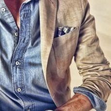 Denim shirt in colbert2 - Pinterest  - Voorjaarstrends Mannen #2: Double Denim - Manify.nl