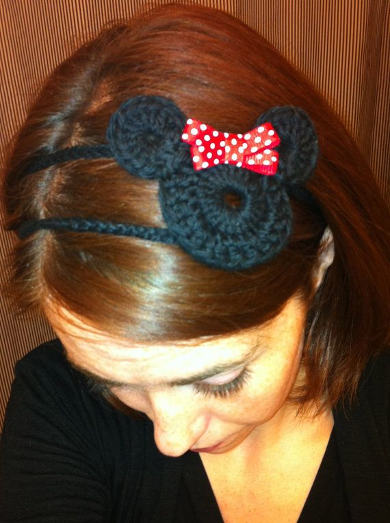 This crocheted Minnie headband is from Etsy; follow the link to buy it, or use the idea to whip one up with some plastic rings, black yarn, and a little bow :-)