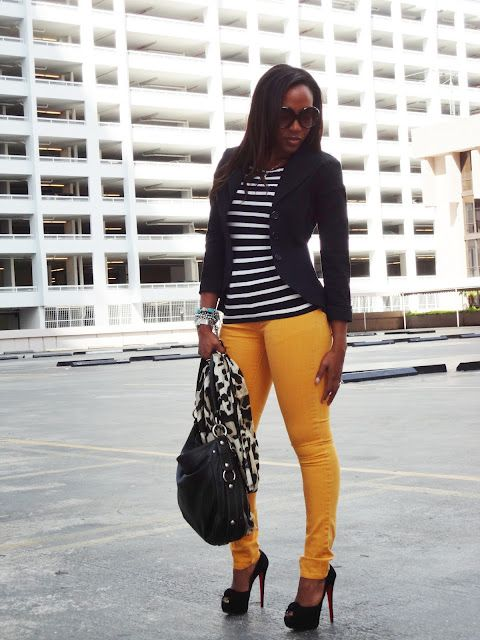 I love everything about this outfit from the striped tee to the fitted blazer to the boldly colored pants. I would rock this every day & twice on Sundays. #fashion #style: Colors Combos, Yellow Jeans, Fashion Style, Yellow Pants, Street Style, Cute Outfits, Outfits Ideas, Stripes Tees, Black Stripes