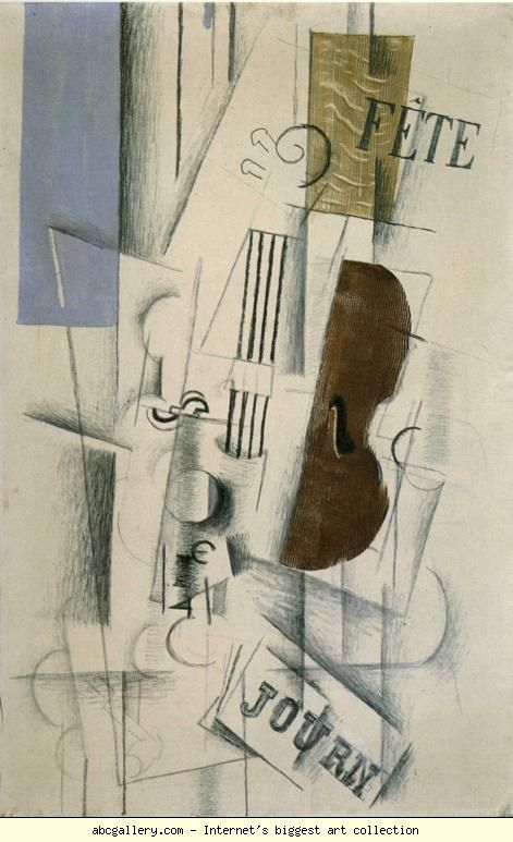Georges Braque. Violin and Newspaper (Musical Forms)  via Olga's Gallery.