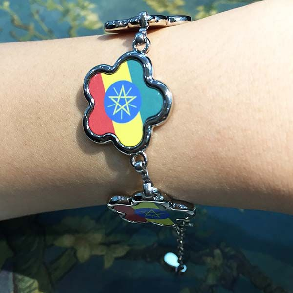 Ethiopia National Flag Africa Country Symbol Mark Pattern Flower Shape Metal Bracelet Chain Gifts  #Bracelet #Blue#Red#Yellow#Star #National #Flag #Africa#Ethiopia#Flower #Gift #Symbol #diy #Simple #Handmade #Creative #Metal #Design #Jewelry #Chain
