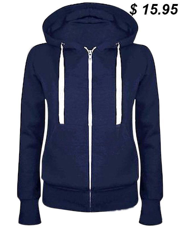 Generic Mens Casual Zip Hoodie Slim Fit Color Contrast Sweatshirt Jackets