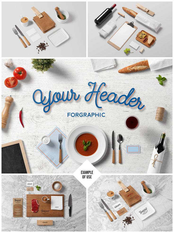 . **ABOUT** Restaurant / Food Branding Mock-Up based on professional photos. Just open the psd file and place your design on the objects. All objects and shadows are fully separated so you