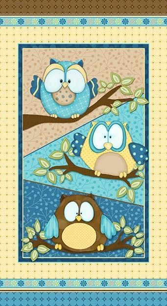 WHOO ME?~HENRY GLASS FABRIC PANEL~AQUA BLUE YELLOW OWLS~BOY~SIMPLY SHELLY~6277P in Fabric | eBay
