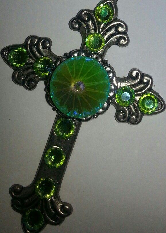 Lime green swarovski cross. By Caren.