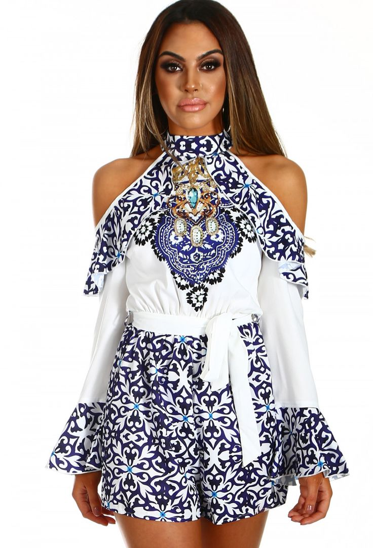 Baby Doll Face White and Blue Printed Cold Shoulder Playsuit | Pink Boutique