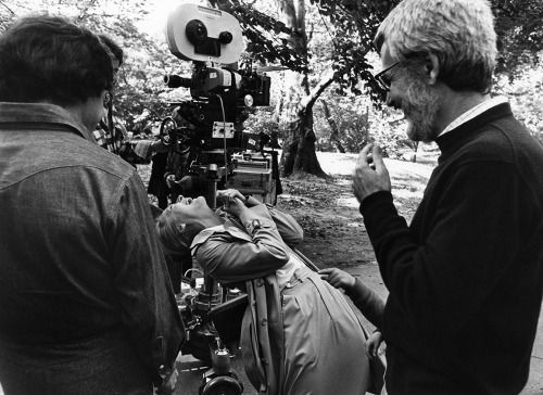 Dustin Hoffman, Meryl Streep and director/writer Robert Benton on location during production of Kramer vs. Kramer (1979).