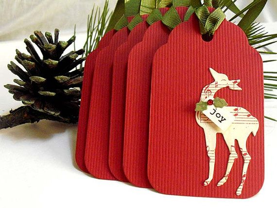 Red REINDEER Christmas Gift Tags 5 by smatsunaka on Etsy, $4.50