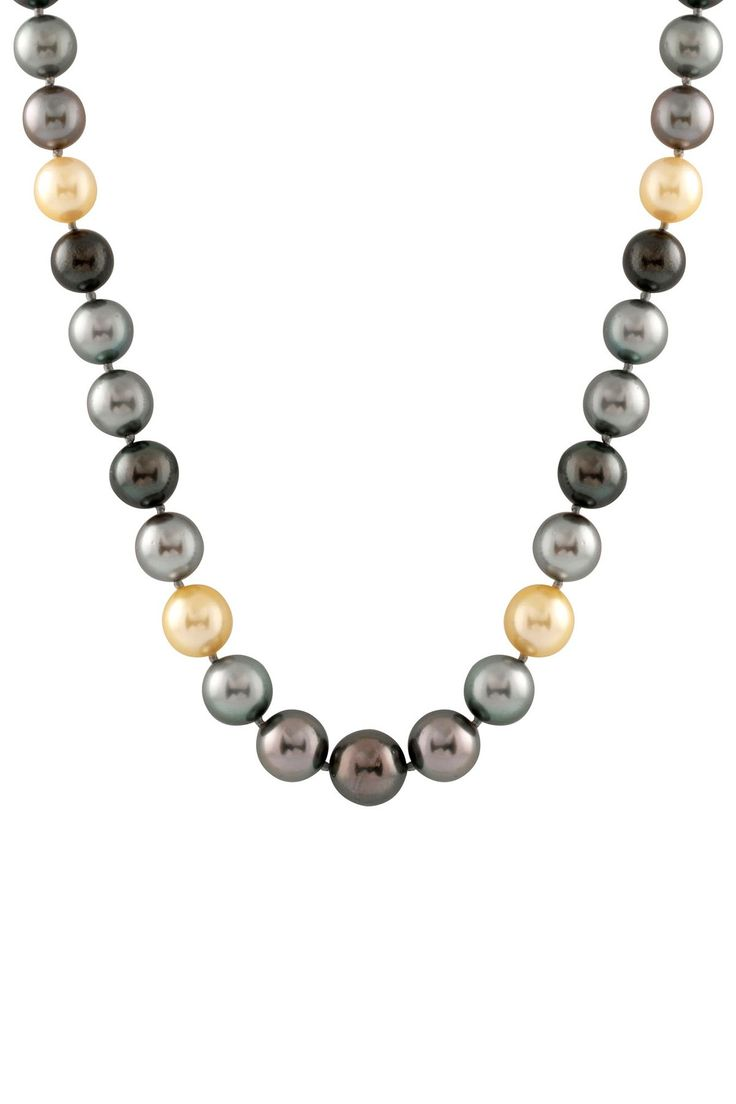 10-12mm Tahitian & South Sea Pearl Diamond Necklace
