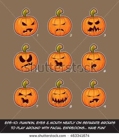 Vector icons of Jack O Lantern in 9 Angry expressions. Each expression on separate Layer; Pumpkin, Eyes & Mouth on separate groups for further exploration of facial expressions.