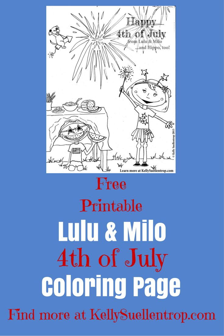 free printable 4th of july coloring page featuring lulu milo characters in the childrens