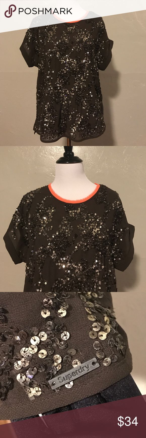 Super Dry Brown/Orange Sequins Top Good condition. It's see through. There are some sequins missing but not noticeable. 100% authentic. Offer no trade. Superdry Tops Tees - Short Sleeve