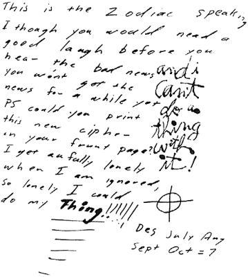 Zodiac Killer, Dripping pen letter