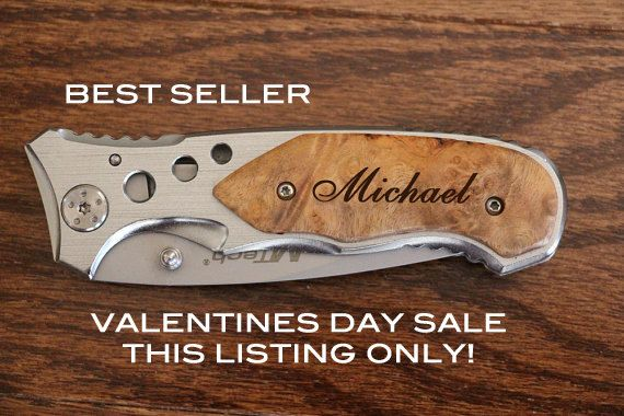 Valentines Day Gifts for Him, Mens Valentine Gift, Personalized Knife, Be My Valentine, Hunting knife, Custom Engraved wood Knife, Monogram $19.99