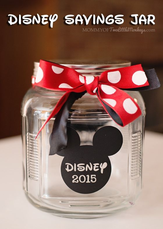 Disney savings jar for kids - Silhouette Cameo Craft.  Those quarters and dimes add up quickly!